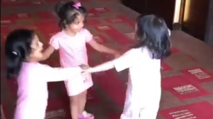 Watch: Daughters of MS Dhoni, Suresh Raina and Harbahjan Singh having a great time together