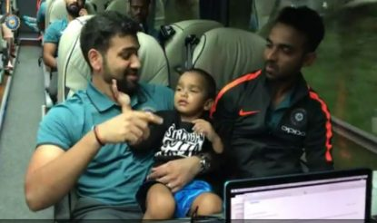 Watch: Rohit Sharma keeping a check at Zoravar Dhawan's pronunciation
