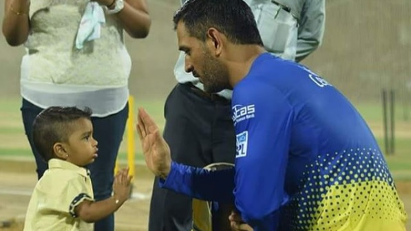Watch: MS Dhoni plays with a young CSK fan after his practice session