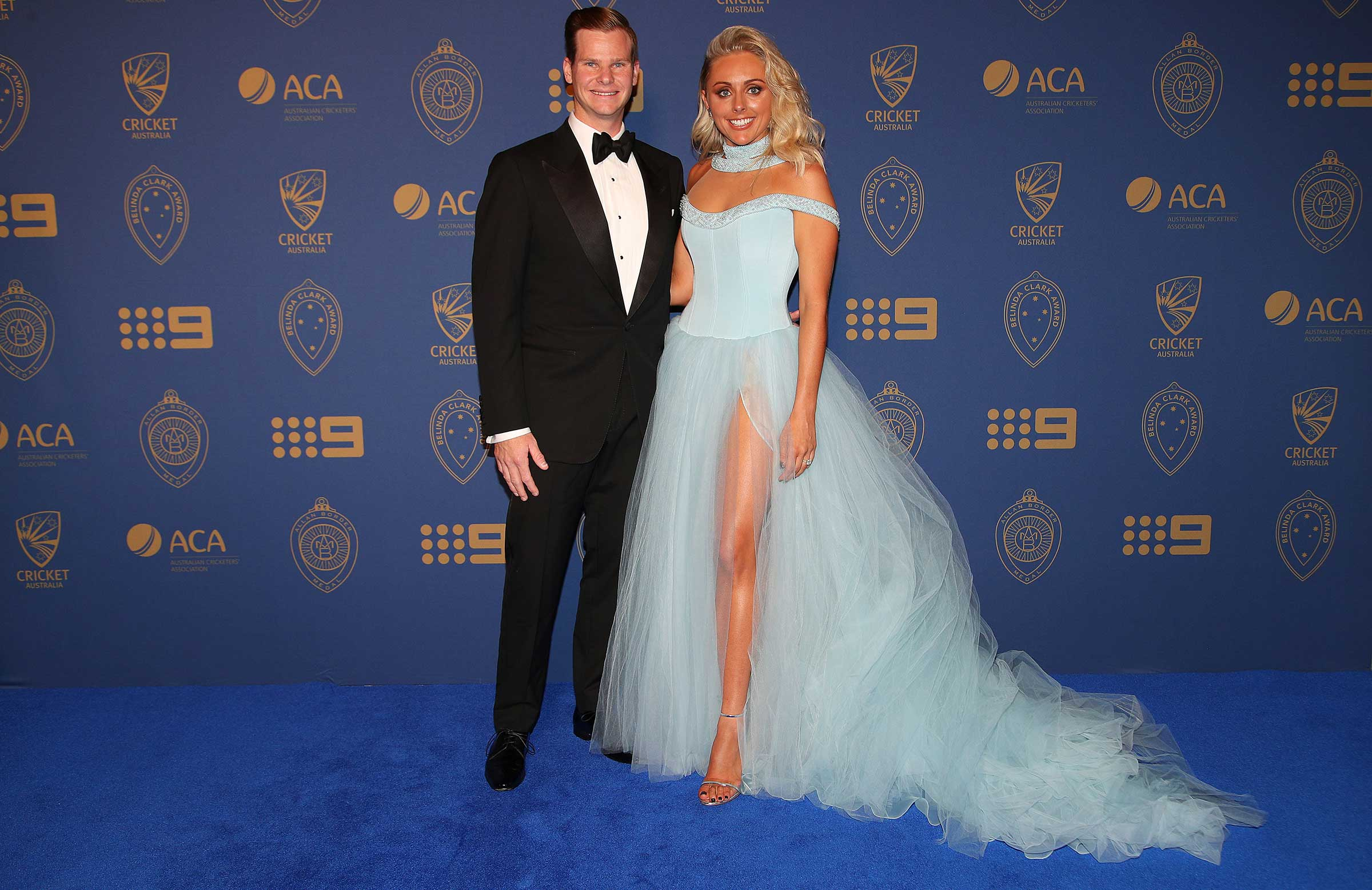 Australia captain Steve Smith with fiancée Dani Willis at Allan Border Medal night | Getty