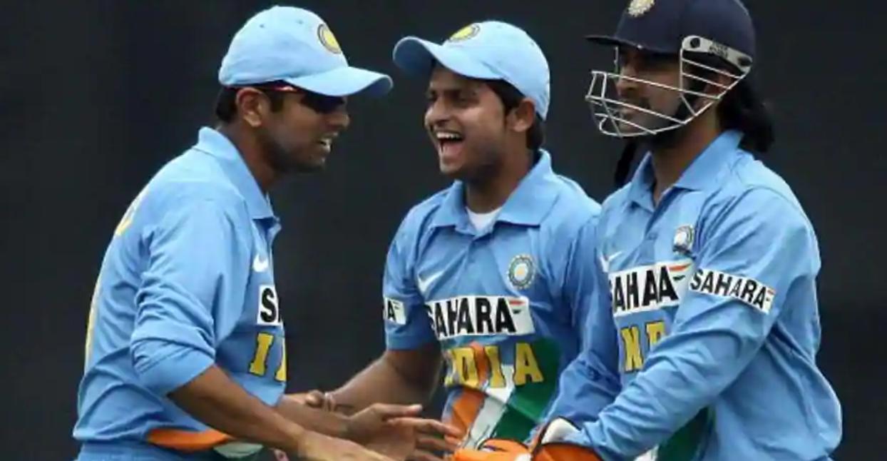 Suresh Raina, Rahul Dravid, and MS Dhoni   AFP