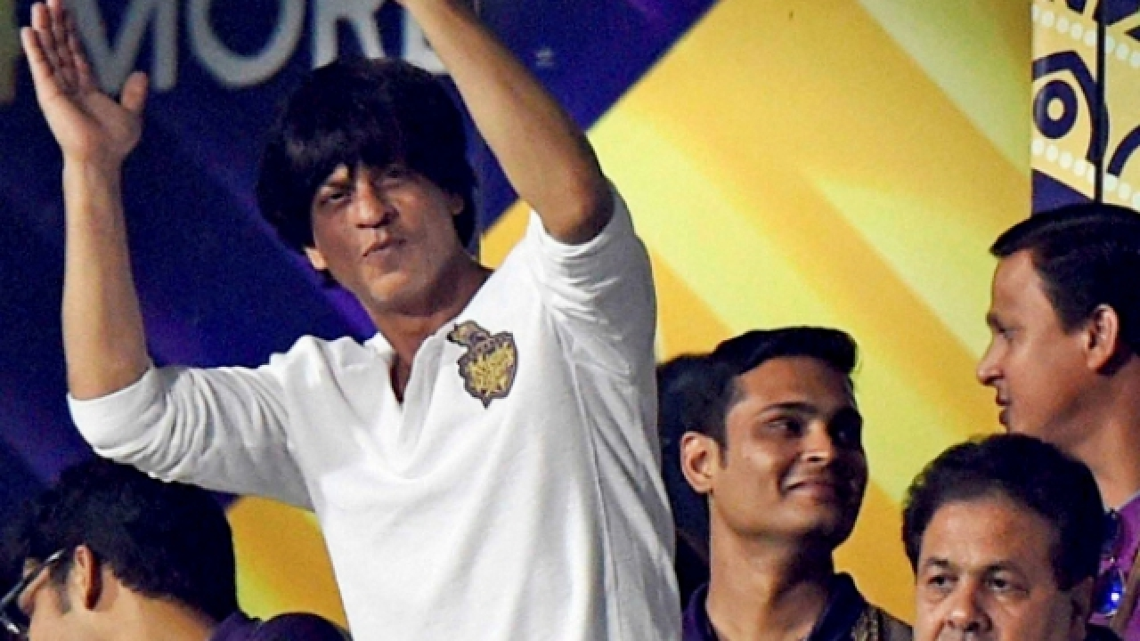 Shah Rukh Khan cheers for his IPL team KKR