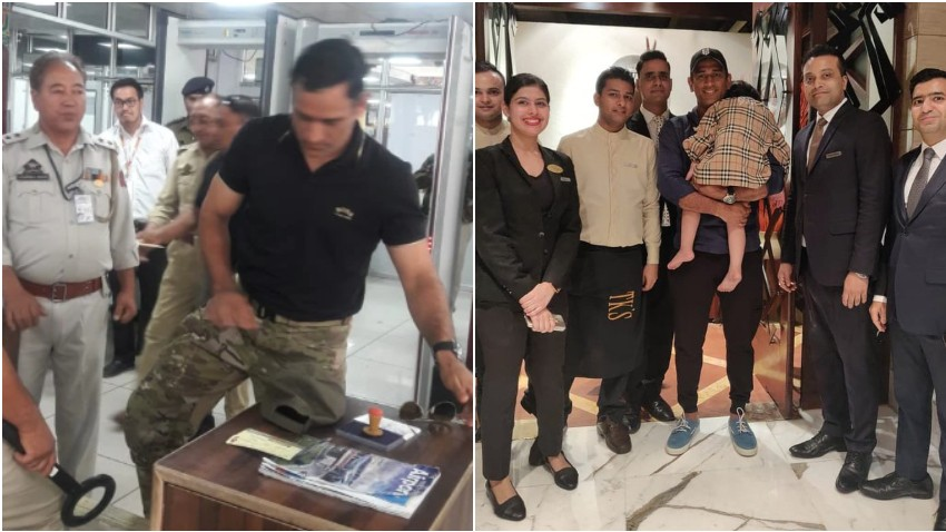 PICS: MS Dhoni returns after training in Kashmir; reunites with his daughter in New Delhi