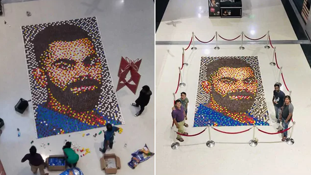 WATCH: Fan dedicates world's largest clay lamp mosaic art to Virat Kohli