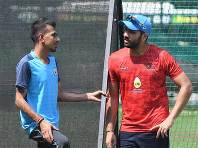 Yuzvendra Chahal and Rohit Sharma. (TOI Photo)