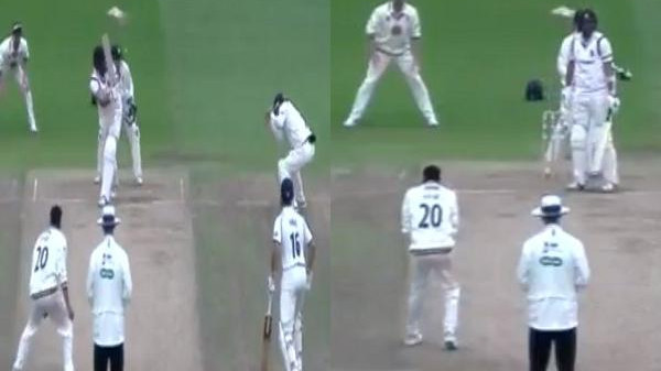 WATCH: Akshar Patel affects a bizarre dismissal in County Championship