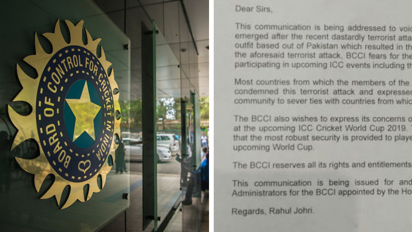 Full Text of BCCI's letter to ICC concerning safety of players, officials and fans