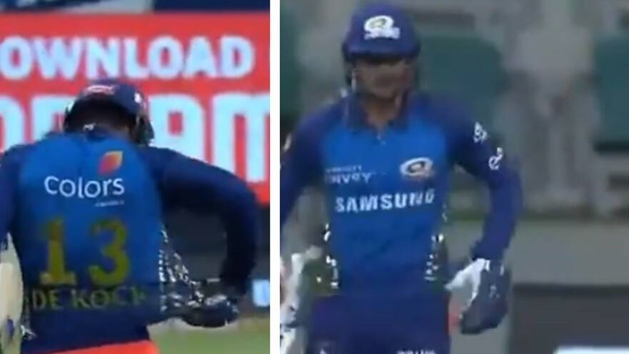 IPL 2020: WATCH- Quinton de Kock suffers a wardrobe malfunction against KKR