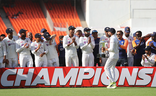 Team India pose with the trophy after beating England 3-1 | Getty