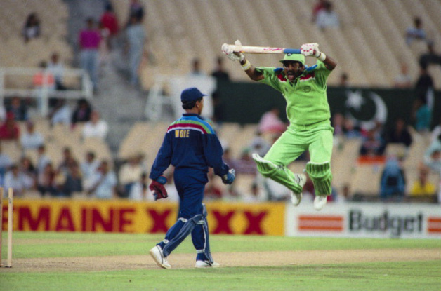 Javed Miandad mocking Kiran More during the 1992 World Cup tie