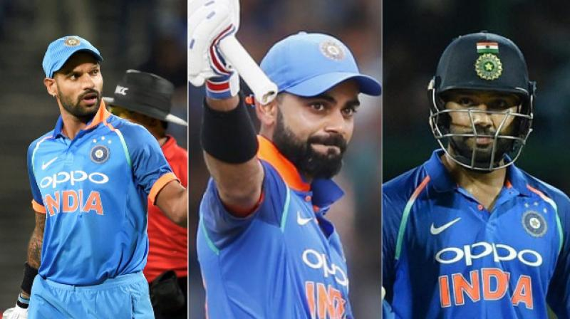 The most destructive top 3 in limited overs format - Shikhar Dhawan, Rohit Sharma and Virat Kohli