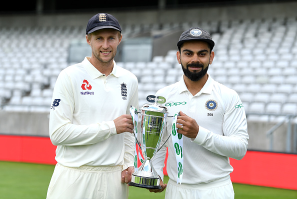 Joe Root and Virat Kohli smile before readying for battle | Getty