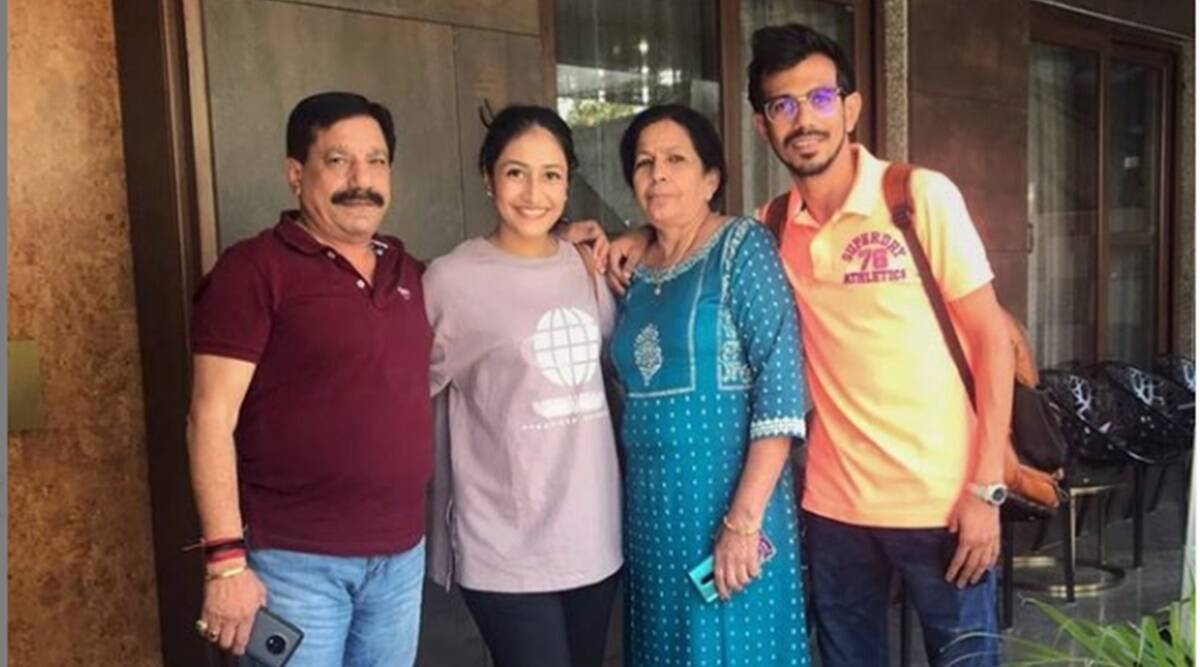 Yuzvendra Chahal with his parents and wife Dhanashree | Instagram