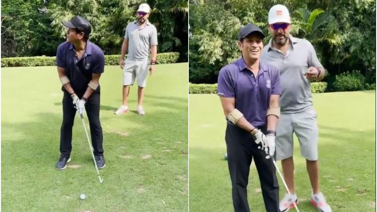 WATCH - Sachin Tendulkar plays golf left-handed with Yuvraj Singh as his coach