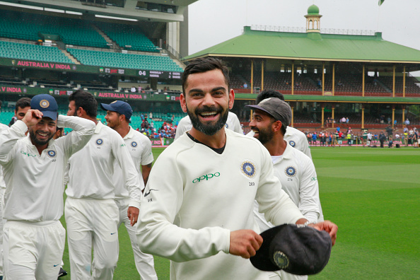 Virat Kohli and the Indian cricket team celebrate their maiden Test series win on Australian soil | Getty