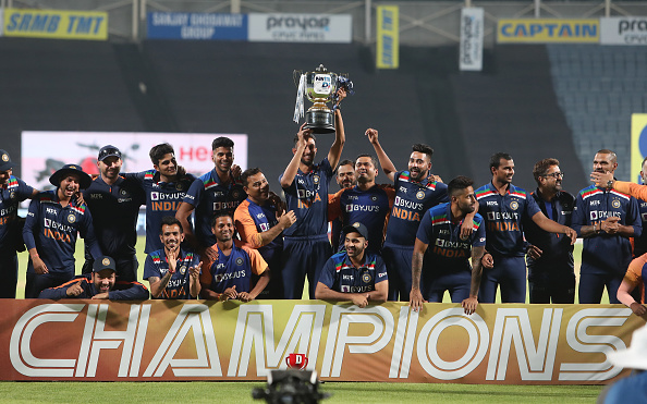Team India with the ODI series trophy   Getty