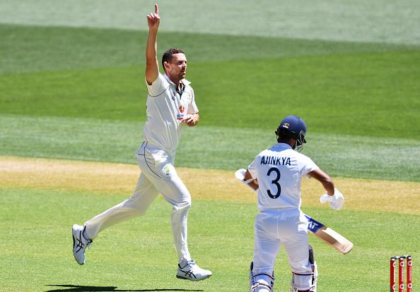 Josh Hazlewood celebrating Ajinkya Rahane's wicket   GETTY