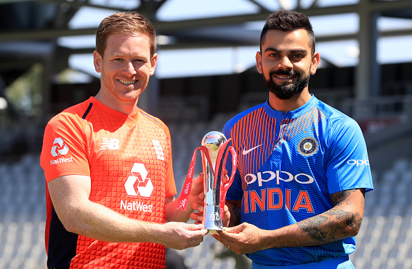 Virat Kohli and Eoin Morgan with the Vitality IT20 series trophy | Getty