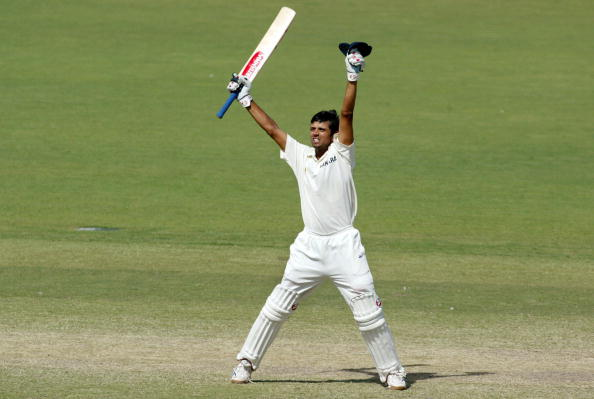 Rahul Dravid celebrates the famous Adelaide Test win over Australia in 2003 | Getty