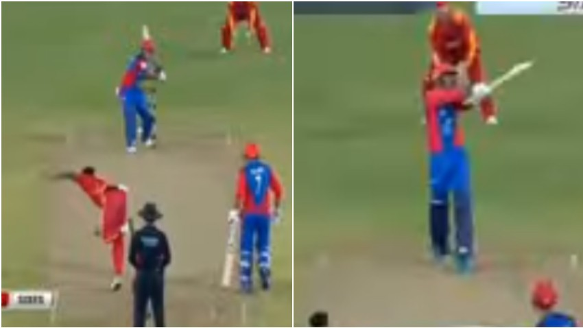 WATCH: Mohammad Nabi and Najibullah Zadran smash seven consecutive sixes in a T20I against Zimbabwe