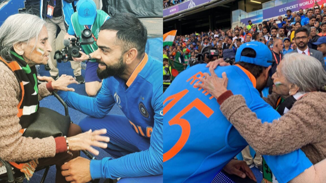 CWC 2019: WATCH - Virat Kohli and Rohit Sharma meet 87-year old fan after Team India enters the semis
