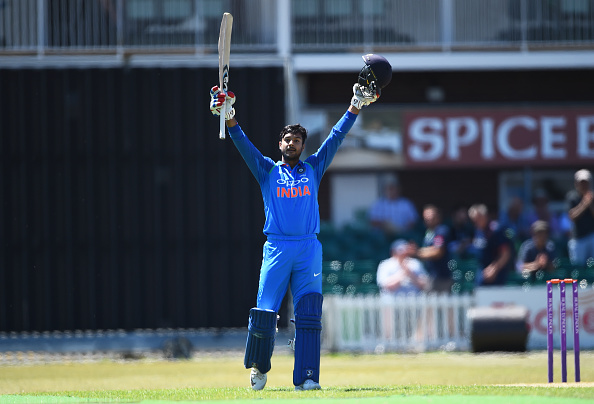 Mayank Agarwal celebrates his century during one of the tri-series matches in England | Getty