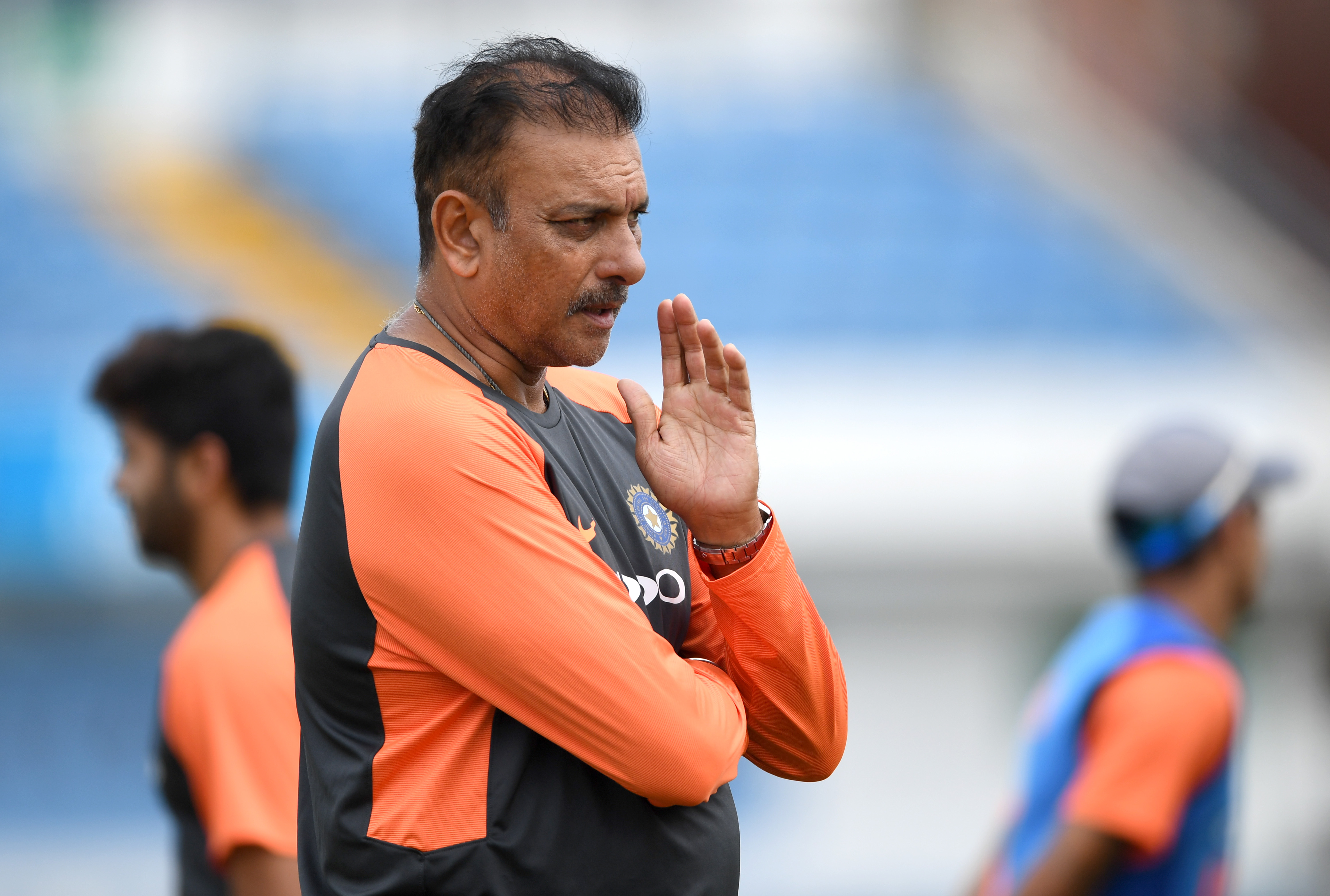 Ravi Shastri was not happy with the outfield and pitch conditions of the warm-up match | Getty