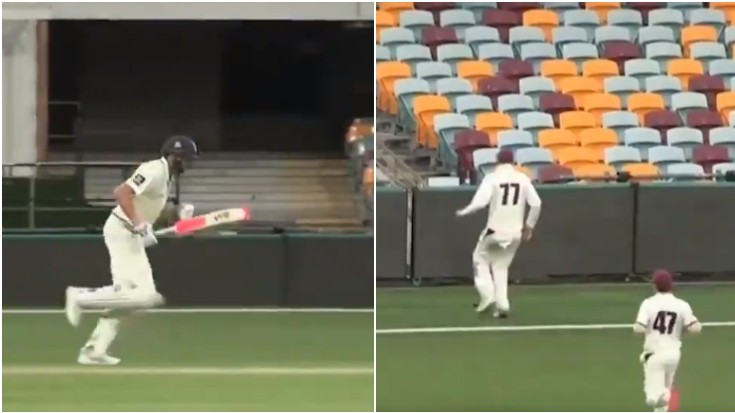 WATCH: Batsman kept on running despite ball goes over the ropes; leaves commentators in splits