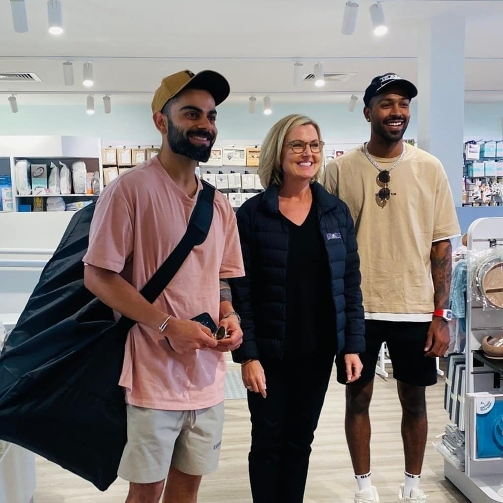 Virat Kohli and Hardik Pandya with a fan in a Sydney store | Instagram