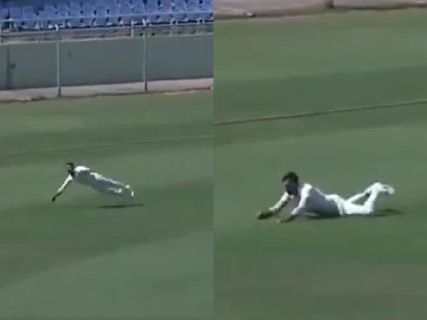 Anmolpreet Singh took a stunning catch to dismiss Andhra batsman Bodapati Sumanth | Twitter