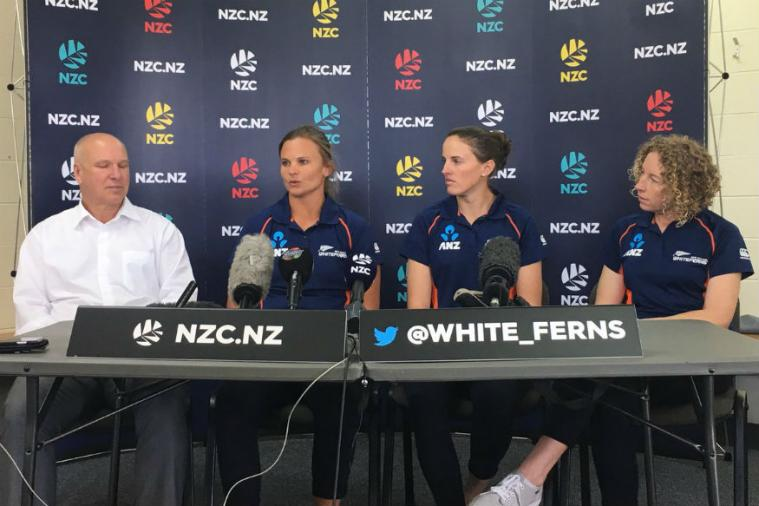 NZ Women's skipper Suzie Bates addressing a Press Conferance. (BlackCaps Twitter)