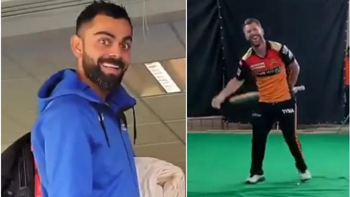 Virat Kohli in splits after watching David Warner's video of him swinging the bat like a sword