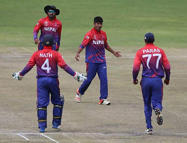 Sandeep Lamichhane picked three wickets to restrict Singapore to 151 | Getty