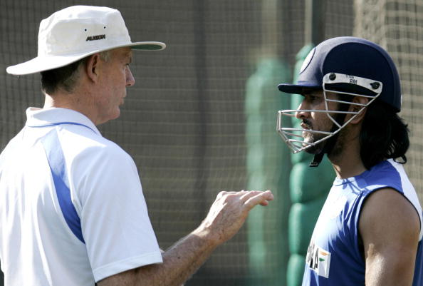Greg Chappell and MS Dhoni during a practice session in 2006   Getty