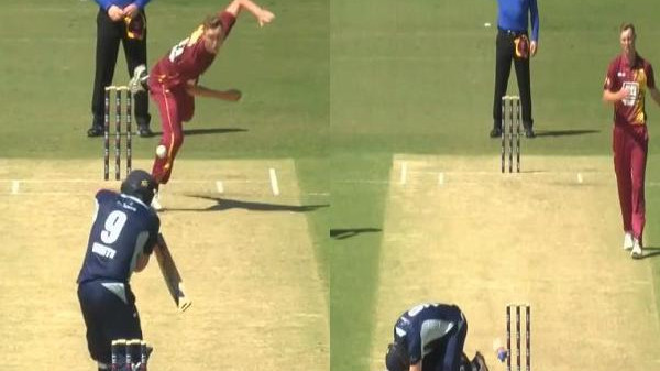 WATCH- Billy Stanlake stuns Cameron White with a vicious beamer during a JLT Cup match