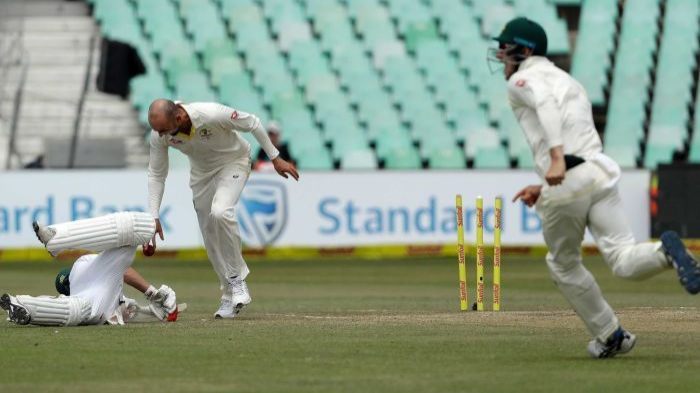 SA v AUS 2018: ICC penalized Nathan Lyon for AB de Villiers run out send-off