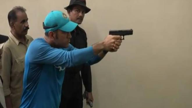 Watch: MS Dhoni tries his hand at shooting, shares video on Twitter