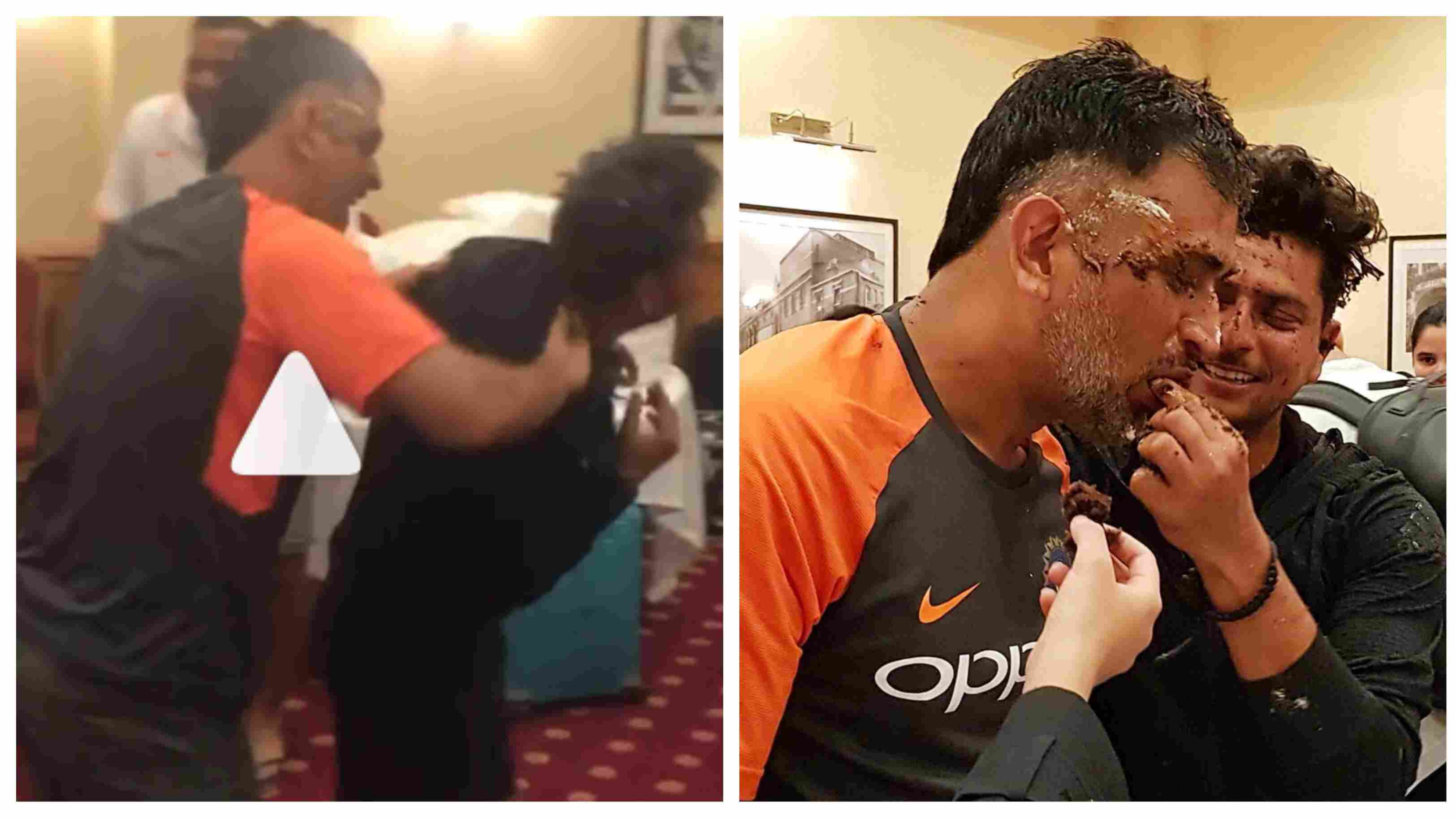 WATCH: MS Dhoni takes revenge from Kuldeep Yadav for smashing cake on his face