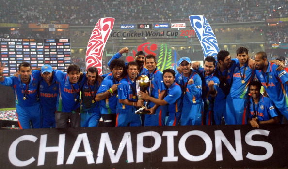 Indian Cricket team after winning the 2011  World Cup. (Getty)