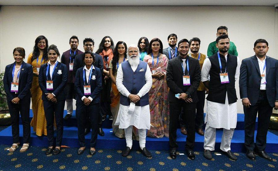 PM Narendra Modi with Bangladesh's renowned sportspersons | ANI