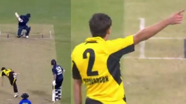WATCH – Jhye Richardson treats Glenn Maxwell with a sharp bouncer during Marsh Cup match