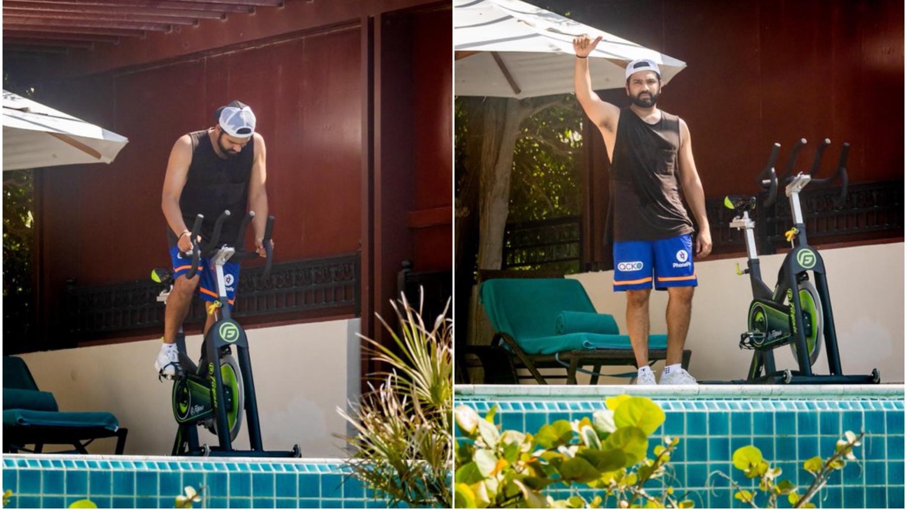 IPL 2021: PICS- Mumbai Indians' captain Rohit Sharma begins training in quarantine
