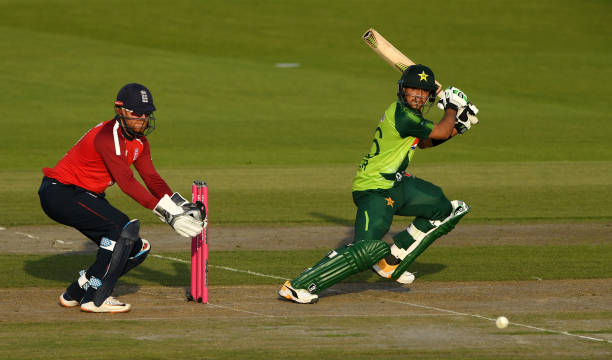 Haider Ali of Pakistan playing a shot during the third T20I against England. (photo - Getty Images)