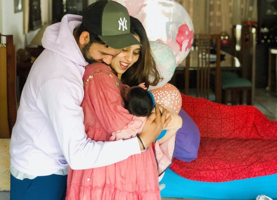 Rohit Sharma with wife Ritika Sajdeh and the newborn daughter | Twitter
