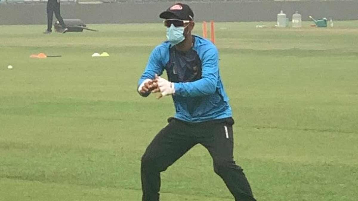 IND v BAN 2019: Liton Das trains wearing a mask at Arun Jaitley Stadium