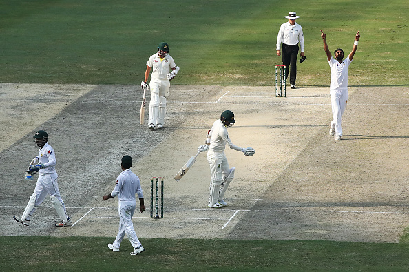 Bilal Asif celebrates in maiden six-wicket haul in Test cricket in Dubai | Getty Images