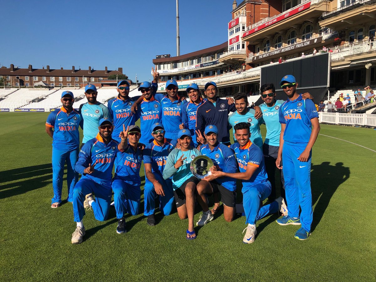 India A team pose with the tri-series trophy after defeating England Lions in the final | Twitter