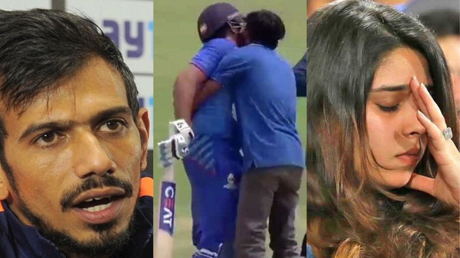 Chahal-Ritika concerned after fan tries to kiss Rohit Sharma