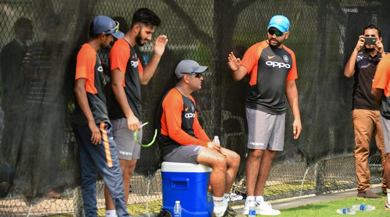 MS Dhoni and Indian players in Dubai during net session | Indian Express