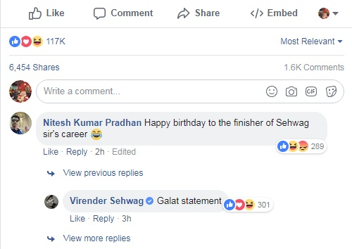 Virender Sehwag's reply | Source Facebook